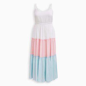 Multi Colorblock Challis Tiered Maxi Dress